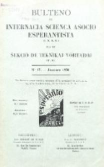 Bulteno de Internacia Scienca Asocio Esperantista (I.S.A.E) kaj de Sekcio de Teknikaj Vortaroj (T.V.). No 17 (Januaro 1930)