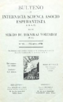 Bulteno de Internacia Scienca Asocio Esperantista (I.S.A.E) kaj de Sekcio de Teknikaj Vortaroj (T.V.). No 20 (Oktobro 1930)