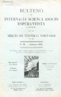 Bulteno de Internacia Scienca Asocio Esperantista (I.S.A.E) kaj de Sekcio de Teknikaj Vortaroj (T.V.). 1931, No 21 (Januaro 1931)