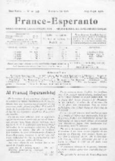 France-Espéranto : monata organo de francaj esperantistoj. Dua Serio, No 20=44 (Aug./Sept. 1923)