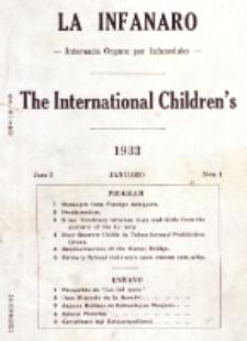 La Infanaro : internacia Organo por Infaneduko = The International Children's. Jaro 1, N-ro 1 (Januaro 1933)