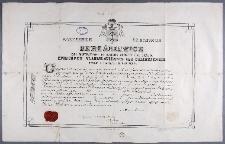 Dyplom nadania święceń kapłańskich Idziemu Radziszewskiemu przez biskupa Aleksandra Kazimierza Bereśniewicza, biskupa kujawsko-kaliskiego z dnia 24 VI 1896 roku.