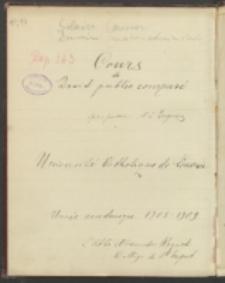 Cours de Droit public comparé professeur M. L. Dupriez. Université Catholique de Louvain. Année academique 1908-1909. L'Abbé Alexandre Woycicki Collège du St. Esprit