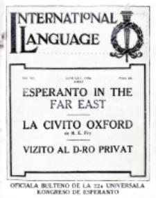 International Language : a monthly magazine. Vol. 7 (1930), January