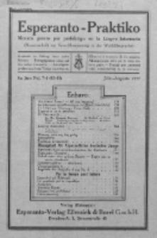 Esperanto-Praktiko : instrua kaj literatura gazeto monata por perfektigo en la Lingvo Internacia.Jaro 4, No 7/8=43/44 (julio/aug.1922)