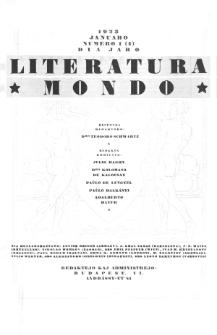 Literatura Mondo. Jaro 2, numero 1=4 ( Januaro 1923)
