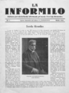 La Informilo : bulteno por eksterlanda informado pri nacia vivo kaj ekonomio.No 1 (Marto 1923)