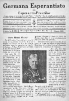 Germana Esperantisto : monata gazeto por la vastigado de la lingvo Esperanto.Jaro 21a, No 2 (februaro1924)