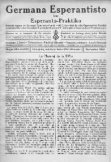 Germana Esperantisto : monata gazeto por la vastigado de la lingvo Esperanto.Jaro 21a, No 11 (novembro1924)