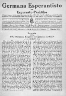 Germana Esperantisto : monata gazeto por la vastigado de la lingvo Esperanto.Jaro 21a, No 10 (oktobro1924)