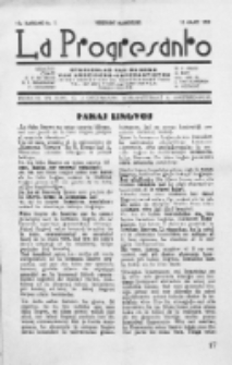 La Progresanto : studieblad van de Federatie van Arbeiders-Esperantisten in het Gebied van de Nederlandse Taal. Jaargang 12, no 3 (Maart 1950)