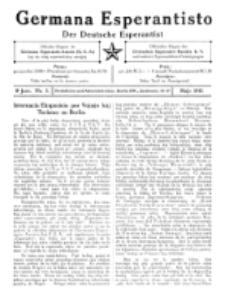 Germana Esperantisto : monata gazeto por la vastigado de la lingvo Esperanto. Jaro 8, No 5 (majo1911)
