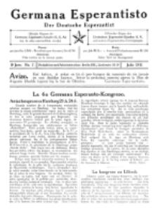 Germana Esperantisto : monata gazeto por la vastigado de la lingvo Esperanto. Jaro 8, No 7 (julio1911)
