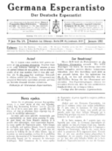 Germana Esperantisto : monata gazeto por la vastigado de la lingvo Esperanto. Jaro 9a, No 1a (januaro1912)
