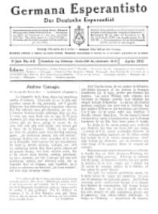 Germana Esperantisto : monata gazeto por la vastigado de la lingvo Esperanto. Jaro 9a, No 4b (aprilo1912)