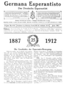 Germana Esperantisto : monata gazeto por la vastigado de la lingvo Esperanto. Jaro 9a, No 6b (junio1912)