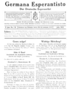 Germana Esperantisto : monata gazeto por la vastigado de la lingvo Esperanto. Jaro 9a, No 7b (julio1912)