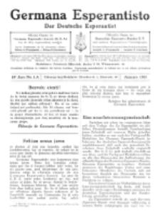 Germana Esperantisto : monata gazeto por la vastigado de la lingvo Esperanto.Jaro 10a, No 1a (januaro1913)