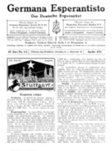 Germana Esperantisto : monata gazeto por la vastigado de la lingvo Esperanto.Jaro 10a, No 4a (aprilo1913)
