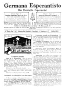 Germana Esperantisto : monata gazeto por la vastigado de la lingvo Esperanto.Jaro 10a, No 7a (julio1913)
