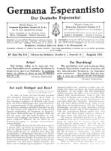 Germana Esperantisto : monata gazeto por la vastigado de la lingvo Esperanto.Jaro 10a, No 8a (augusto1913)
