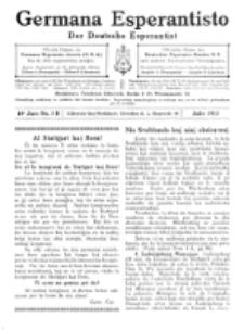 Germana Esperantisto : monata gazeto por la vastigado de la lingvo Esperanto.Jaro 10a, No 7b (julio1913)