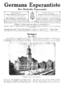 Germana Esperantisto : monata gazeto por la vastigado de la lingvo Esperanto.Jaro 10a, No 6b (junio1913)