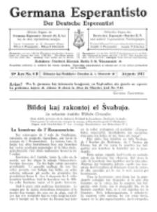 Germana Esperantisto : monata gazeto por la vastigado de la lingvo Esperanto.Jaro 10a, No 8b (augusto1913)