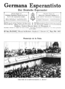 Germana Esperantisto : monata gazeto por la vastigado de la lingvo Esperanto.Jaro 10a, No 9/10b (sept./okt.1913)