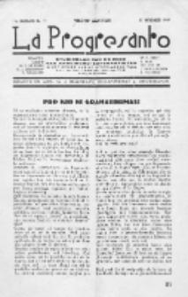 La Progresanto : studieblad van de Federatie van Arbeiders-Esperantisten in het Gebied van de Nederlandse Taal. Jaargang 11, no 11 (November 1949)
