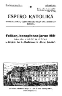 Espero Katolika.Nova Serio Jaro 1, No 1 (1921)