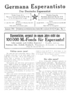 Germana Esperantisto : monata gazeto por la vastigado de la lingvo Esperanto. Jaro 8, No 1 (januaro1911)