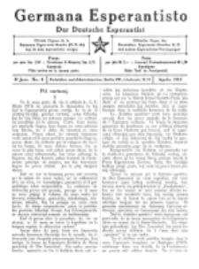 Germana Esperantisto : monata gazeto por la vastigado de la lingvo Esperanto. Jaro 8a (1911)