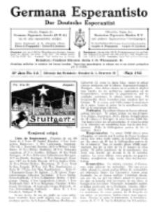 Germana Esperantisto : monata gazeto por la vastigado de la lingvo Esperanto.Jaro 10a, No 5a (majo1913)