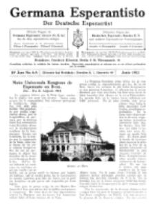 Germana Esperantisto : monata gazeto por la vastigado de la lingvo Esperanto.Jaro 10a, No 6a (junio1913)