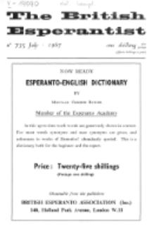 The British Esperantist : the official organ of the British Esperanto Association. Vol. 63, no 735 (July 1967)