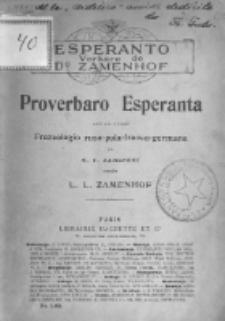 Proverbaro Esperanta laŭ la verko frazeologio rusa-pola-franca-germana.