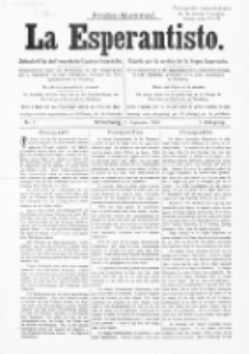 La Esperantisto. Jg. 1, nr 1 (1889)