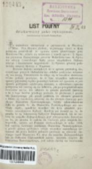List poufny drukowany jako rękopism, nieprzeznaczony do handlu księgarskiego / [S.].
