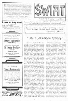 Świat : pismo tygodniowe ilustrowane poświęcone życiu społecznemu, literaturze i sztuce. R. 9 (1914), nr 27 (4 lipca)