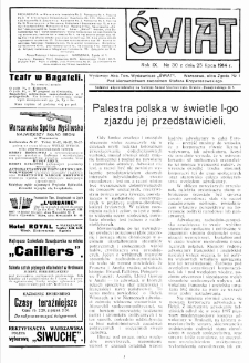 Świat : pismo tygodniowe ilustrowane poświęcone życiu społecznemu, literaturze i sztuce. R. 9 (1914), nr 30 (25 lipca)