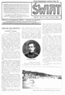 Świat : pismo tygodniowe ilustrowane poświęcone życiu społecznemu, literaturze i sztuce. R. 9 (1914), nr 33 (14 sierpnia)