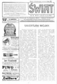 Świat : pismo tygodniowe ilustrowane poświęcone życiu społecznemu, literaturze i sztuce. R. 9 (1914), nr 34 (22 sierpnia)
