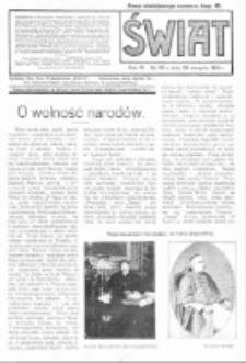 Świat : pismo tygodniowe ilustrowane poświęcone życiu społecznemu, literaturze i sztuce. R. 9 (1914), nr 35 (29 sierpnia)