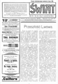 Świat : pismo tygodniowe ilustrowane poświęcone życiu społecznemu, literaturze i sztuce. R. 9 (1914), nr 42 (17 października)