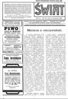 Świat : pismo tygodniowe ilustrowane poświęcone życiu społecznemu, literaturze i sztuce. R. 9 (1914), nr 47 (21 listopada)