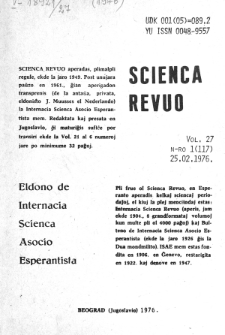 Sceinca Revuo. Vol. 27, no 1 (1976)