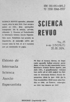 Sceinca Revuo. Vol. 25, no 2/3 (1974)
