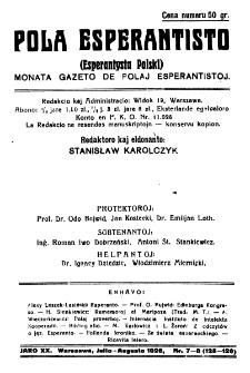 Pola Esperantisto. Jaro 20, no 7/8=125/126 (Julio/Augusto 1926)