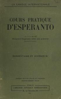 Cours ptatique d'esperanto : partie élémentaire.